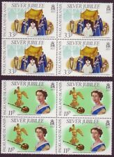 1977 Falkland Is Silver Jubilee 11p & 33p Blocks 4 - SG 326 and 327 UM