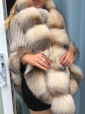 GENUINE SILVER PLATINUM FOX FUR COLLAR STOLE SCARF OVER THE COAT COLLAR REAL FUR