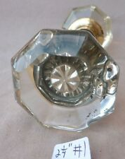 Glass Door Knobs PAIR SET Antique 8 point w/glass (flat face) (PER SET)