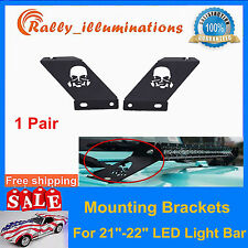 "Pair Skull Hood Mounting Bracket For 21""-22"" LED Work Light Bar Jeep Wrangler JK"