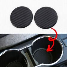 2Pcs Black Car Auto Water Cup Slot Non-Slip Carbon Fiber Look Mat Accessories