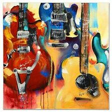 """KAT-""""Wall of Guitars""""-Gall Wrapped Original Acrylic Painting/Canvas/COA/30""""x 30"""""""