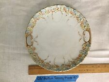 """9.5"""" vintage serving plate with handles and autumn colored flowers"""
