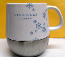 Starbucks Ceramic White/Blue Snow Flake Pattern Stainless Steel Lower Bottom