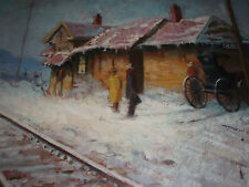 A WILLIAM HARNDEN ORIGINAL OIL PAINTING OF CODY WYOMING TRAIN DEPOT