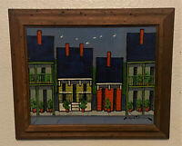 Original Signed Oil Painting -Native Am Clifford Duncan - Primitive Cityscape
