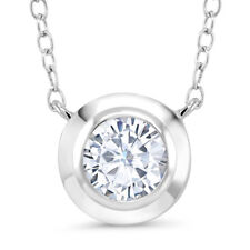 925 Sterling Silver Pendant Forever Classic Round Created Moissanite 1.00ct DEW