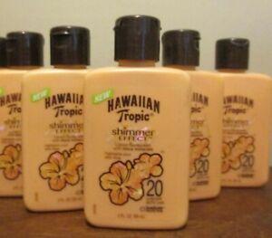 Lot of 5 Hawaiian tropic shimmer effect Spf 20 Lotion Sunscreen 2 oz