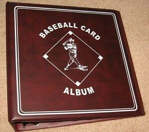 """Lot of 6 BCW Burgundy Baseball Card Collection 3"""" D-Ring Albums binders books"""