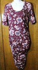 Motherhood Maternity Side Ruched Short Sleeve T-shirt Dress red floral Small NEW