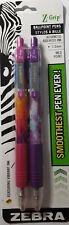 Zebra Z-Grip Ballpoint Pen  - 2 PACK - Black Ink - X1.0mm Med - NEW - Tie Dye