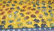 Fat Quarter Teal Mauve  & LAVENDER tiny elephants on AMBER Michael Miller BaTiKs