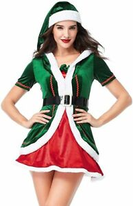 Women's Santa Helper Costume Adult Christmas Honey Elf Halloween Outfits