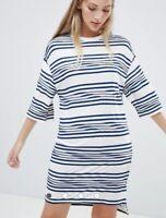 Native Youth striped t shirt dress Cream Blue Jersey Oversized UK M DP39 @ ASOS