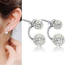 Rhinestone Crystal Stud Ear Earrings Gift V.G Women Silver Double Beads Ball