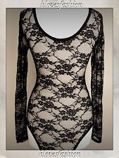 🌸Black Floral Lace Body Sexy Long Sleeved Top Lingerie UK 8 S/M Paid £25 FAST📮