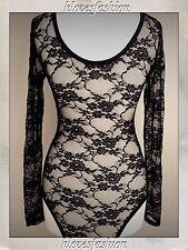 🌸 Nero Floreale Pizzo Body Sexy a maniche lunghe lingerie UK 8 S/M pagato £ 25 veloce 📮