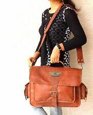 """Vintage Leather Laptop Satchel Bag Gift For Husband 18"""" Men's Leather Messenger"""