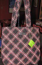 NWT Vera Bradley Tote medium shopper bag in red & black MINSK PLAID