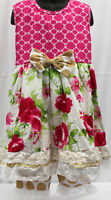 NWT Girls size 4 ADORABLE 2 Piece RUFFLED Pull on Pants & Flower Top Outfit 4