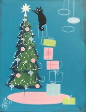 EL GATO GOMEZ RETRO VINTAGE CHRISTMAS TREE HOLIDAY MID CENTURY MODERN BLACK CAT
