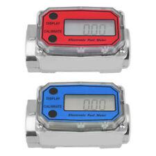 """15-120L/Min 1"""" NPT LED Digital Turbine Flowmeter Diesel Fuel Flow Meter Blue/Red"""