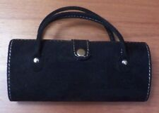 "Black Suede Makeup and Lipstick Case EUC 6"" x 3"" x 1.5"""