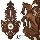 "Antique Black Forest Oak 35"" Fruits of the Hunt Wall Barometer: Two Dog, Hounds"