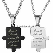 His & Hers Valentine Couple Gift Love Puzzle Pendant Stainless Steel Necklaces
