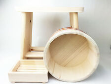 Japanese Oke wood Bath yuoke Chair Soup box 3pic SET Onsen Tools Made in JAPAN