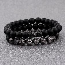 Luxurious Men's Black 8MM Matte Beads Crown CZ 7pcs Zircon Balls Hand Bracelets