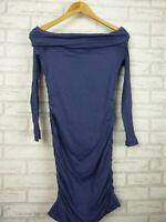 Kookai Off-shoulder dress Nautical violet Megan dress Sz 2 BNWT Long sleeves