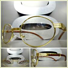 Mens CLASSY MODERN Clear Lens EYE GLASSES Oval Gold & Wood Wooden Effect Frame