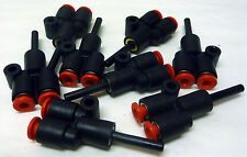 """EIGHT SMC 3-WAY Y-SHAPED TWO 5/32"""" ONE-TOUCH QUICK TUBE TO A 1/8"""" TUBE FITTINGS"""