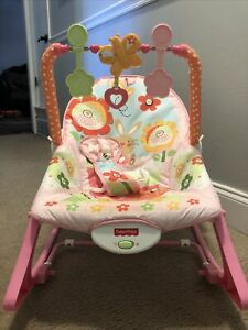 Fisher-Price Infant-to-Toddler Rocker, Reclines, Calming Vibrations, Flowers