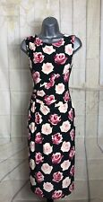 Phase Eight SZ12 Dark Grey Pink/Cream Rose Print Flattering Fitted Wiggle Dress
