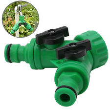 Garden 2-Way Adapter Y Tap Connector Fitting Switch Irrigation Hose Pipe G3 /4""