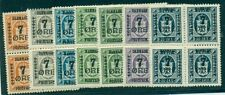 DENMARK #185-91 (124-30), Surcharged Official set in Blocks of 4, og, NH/H