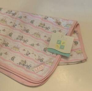 Baby Healthtex Pink White Cotton Receiving Blanket Happily Ever After NWT