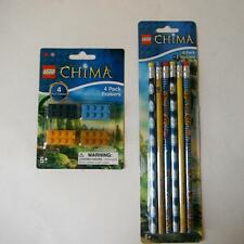 LEGO  Legends of Chima Set of Pencils (6) and Erasers (4) NEW School Supplies