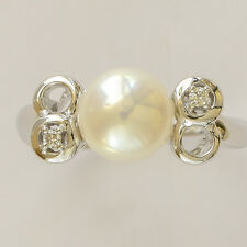 PEARL RING 8.6mm CULTURED PEARL GENUINE DIAMONDS 14K 585 WHITE GOLD SIZE O NEW