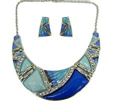 Blue Enamel and Crystal Statement Necklace and Earring Set - NEW