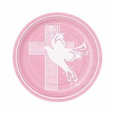 "Pink Dove Cross 8 Ct Dessert Cake Plates 7"" Baptism Christening Communion Party"