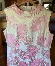 Vintage Dynasty British Crown Colony Hong Kong Pink & White Cocktail Dress-Stain