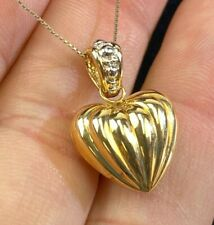 """14k Yellow Gold Hollow Heart Pendant Necklace 22"""" Chain 2.5g DS36"""
