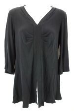 BARBARA LESSER Black 3/4 Sleeve V-Neckline Ruched Accent Shirt Women's Size L
