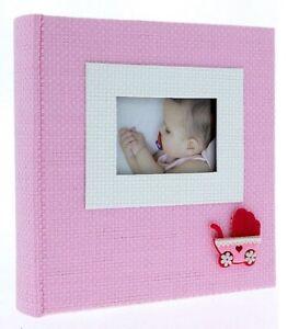 "Pink Slip In Photo Album 200 6"" x 4"" Photos Baby Girl Keepsake Birthday Gift"
