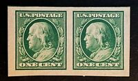 US Stamp, Scott #383 1c pair Franklin imperf 1910 XF/Superb M/NH. Jumbo margins