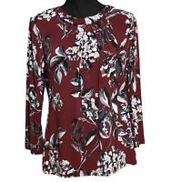 Karl Lagerfeld Career Blouse Bow Detail Red Floral Print Women's S Small