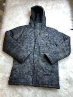 Columbia Boys Insulated Ski Jacket Multicolor Camouflage Hooded Pockets Zip Up L